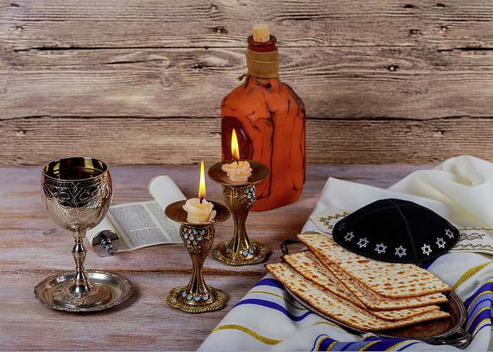 Shabbat shalom traditional jewish sabbath matzah and wine ritual shabat greeting card featuring the photograph shabbat shalom traditional jewish sabbath matzah and wine ritual m4hsunfo