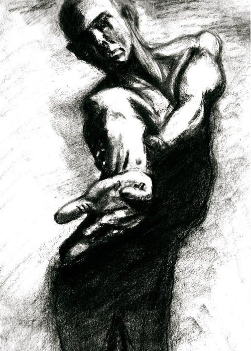 Sketch Greeting Card featuring the drawing Shadow Dancer by Dan Earle