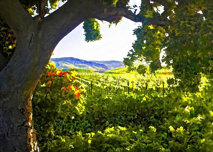 Vineyard Greeting Card featuring the digital art Shady Vineyard by Patricia Stalter