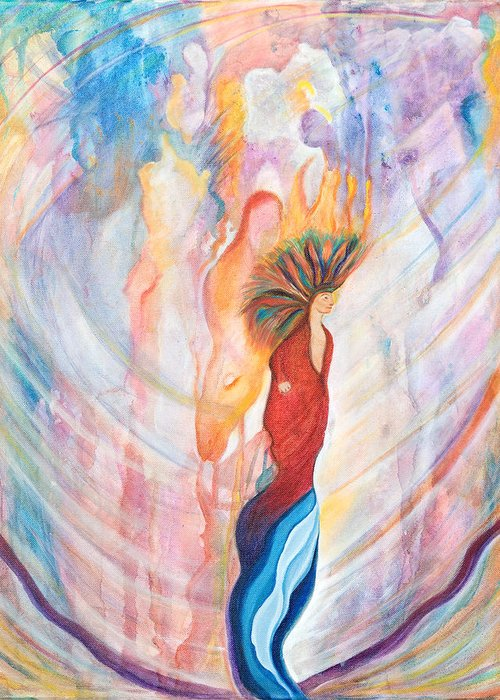 Shamanism Greeting Card featuring the painting Shamans Dream by Leti C Stiles