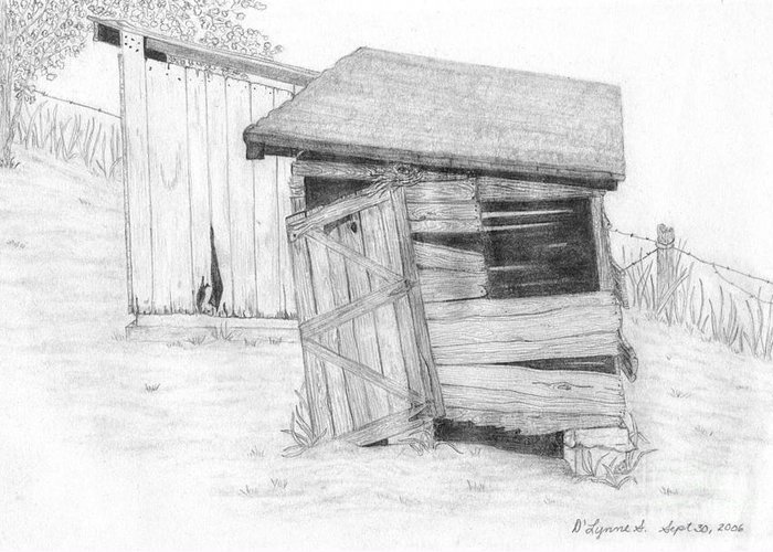 Wpa Greeting Card featuring the drawing Shed And Wpa Outhouse On Johnson Farm by Tree Whisper Art - DLynneS
