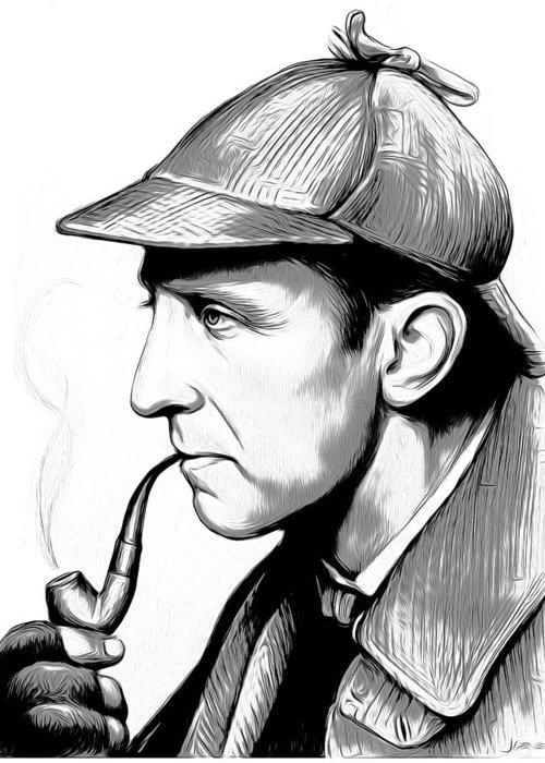 Sherlock Holmes Greeting Card featuring the digital art Sherlock Holmes by Greg Joens