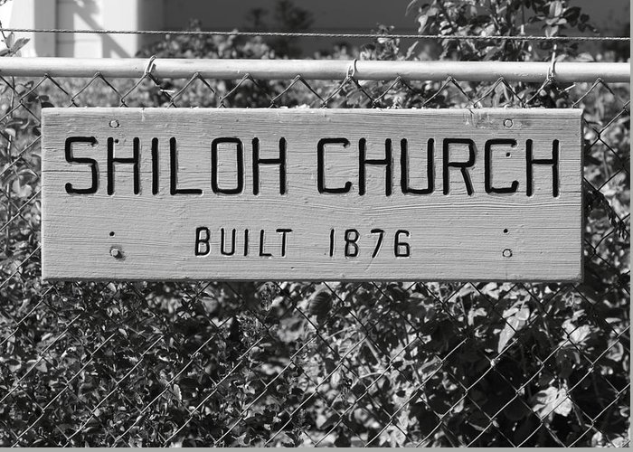 Antique Greeting Card featuring the photograph Shiloh Church Sign Birds Landing Ca by Troy Montemayor