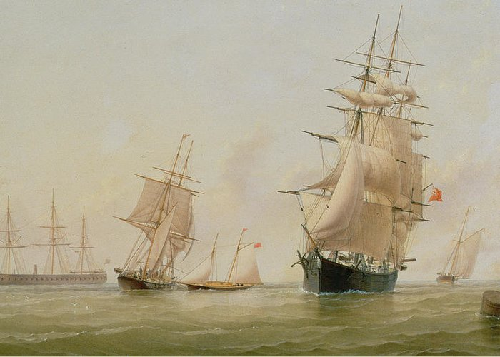Boat Greeting Card featuring the painting Ship Painting by WF Settle