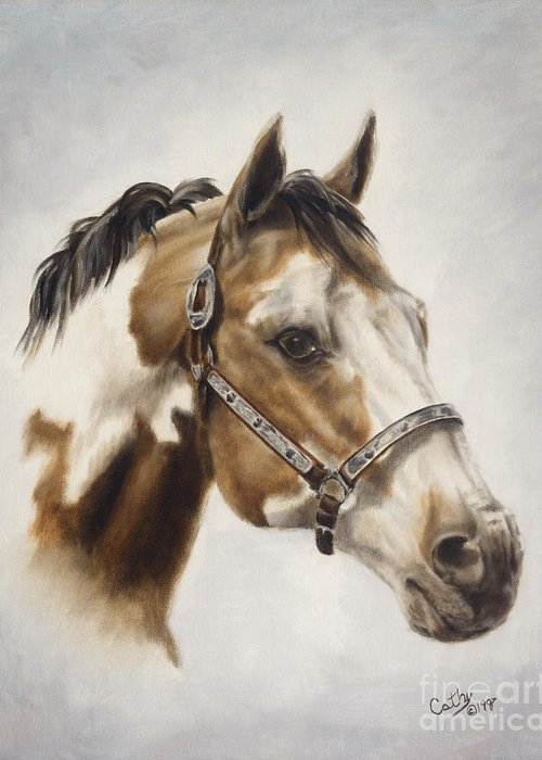 Horse Greeting Card featuring the painting Show Off by Cathy Cleveland