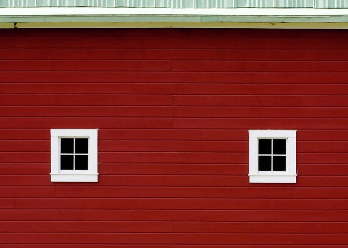 Big Red Barn Greeting Card featuring the photograph Side Of A Big Red Barn In The Palouse by Carol Leigh