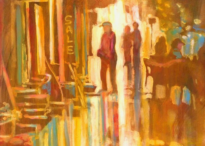 Shopping Greeting Card featuring the painting Sidewalk Sale by Kip Decker
