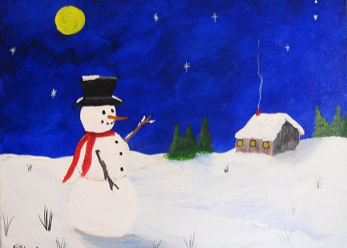 Snowmen Greeting Card featuring the painting Silent Night by Rich Fotia