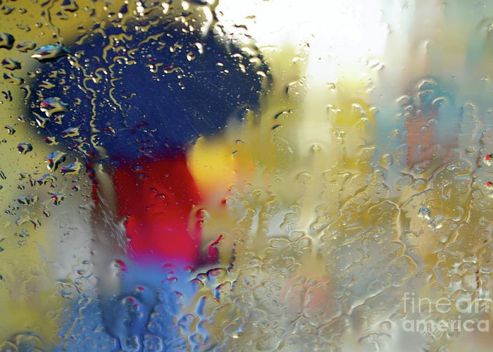 Abstract Greeting Card featuring the photograph Silhouette In The Rain by Carlos Caetano