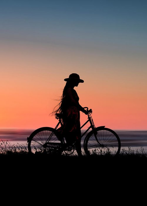 Details about  /Cyclist Bike Silhouette Sunset Illustration 12X16 Inch Framed Art Print