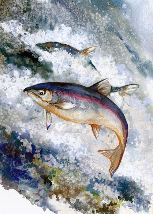 Salmon Greeting Card featuring the painting Silver Salmon by Peggy Wilson