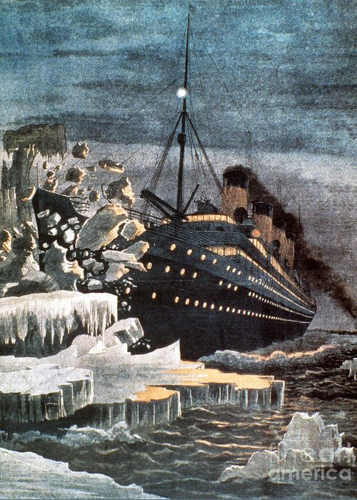 1912 Greeting Card featuring the photograph Sinking Of The Titanic by Granger