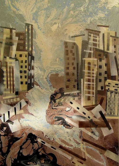 Greeting Card featuring the painting Skyleaking City by Evguenia Men