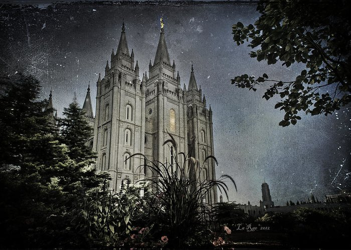 Salt Lake Temple Photography Greeting Card featuring the photograph Slc Vintage Blue by La Rae Roberts