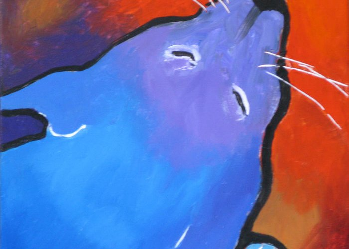 Cat Greeting Card featuring the painting Sleep by Robert Bissett