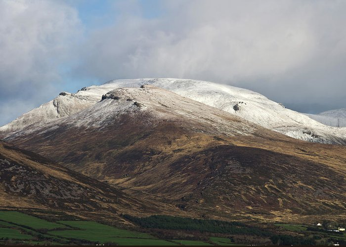 Snow Greeting Card featuring the photograph Slieve Mish Mountain In Snow by David Rolt
