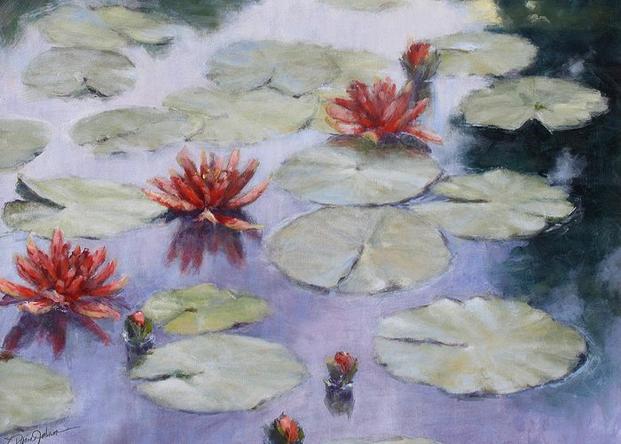 Evening Scene Greeting Card featuring the painting Smooth Sailing - Lilies In Monets Garden by L Diane Johnson