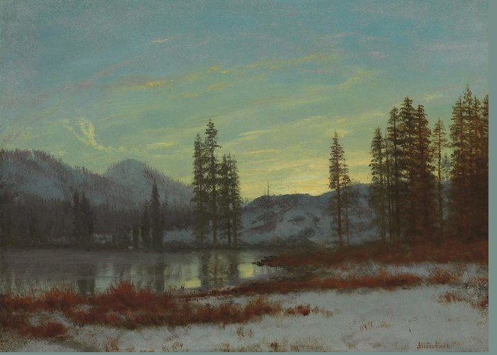 Andscape; Romantic; Romanticist; America; North America; American; North American;landscape; Rural; Countryside; Wilderness; Scenic; Picturesque; Atmospheric; Snow; Winter; Snow-covered; Rockies; Rocky Mountains; Mountain; Mountains; Mountainous; Frontier; Lake; Wooded; Western; Evening; Sunset; Dusk; Twilight; Calm; Peaceful; Tranquil Greeting Card featuring the painting Snow In The Rockies by Albert Bierstadt