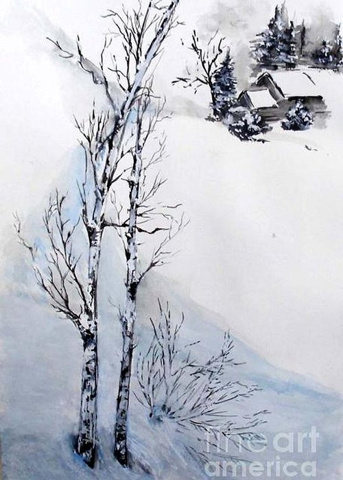 Snow Greeting Card featuring the painting Snow Time by Sibby S