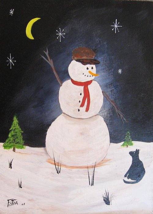 Snowmen Greeting Card featuring the painting Snowman And Cat by Rich Fotia