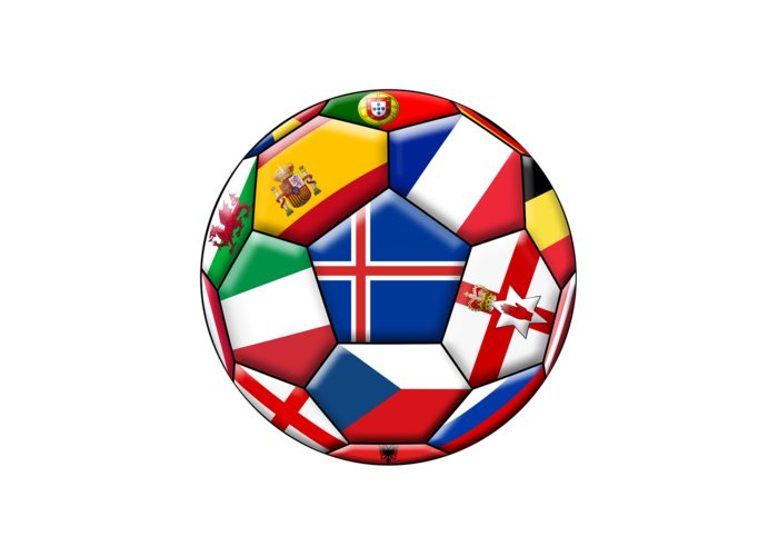 Europe Greeting Card featuring the digital art Soccer Ball With Flag Of Iceland In The Center by Michal Boubin