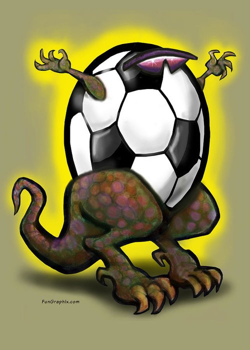 Soccer Greeting Card featuring the digital art Soccer Saurus Rex by Kevin Middleton