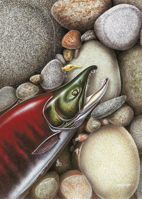 Sockeye Salmon Spawning Red Fish Fishing Alaska Rocks Stream River Angling Hot Shot Lure Tackle Greeting Card featuring the painting Sockeye Salmon by JQ Licensing