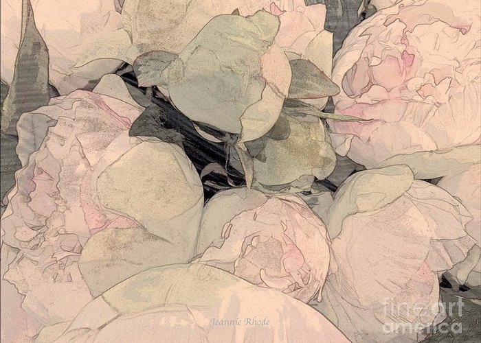 Soft Pink Peonies Greeting Card featuring the photograph Soft Pink Peonies by Jeannie Rhode