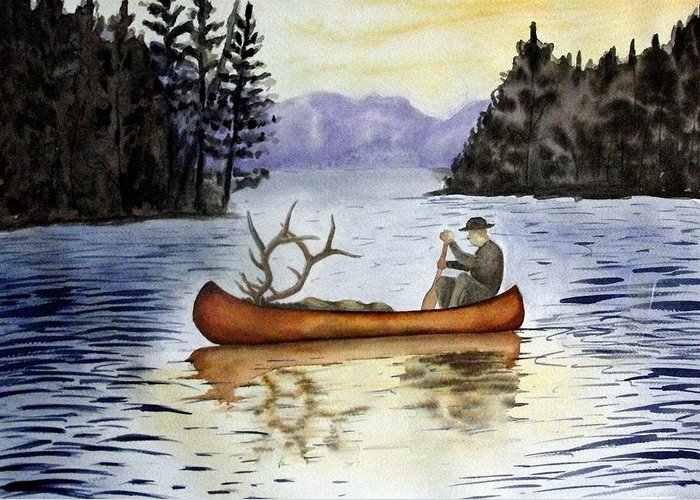 Canoe Greeting Card featuring the painting Solitude by Jimmy Smith