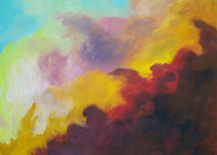 Abstract Greeting Card featuring the painting Space Cloud by Anne Trotter Hodge