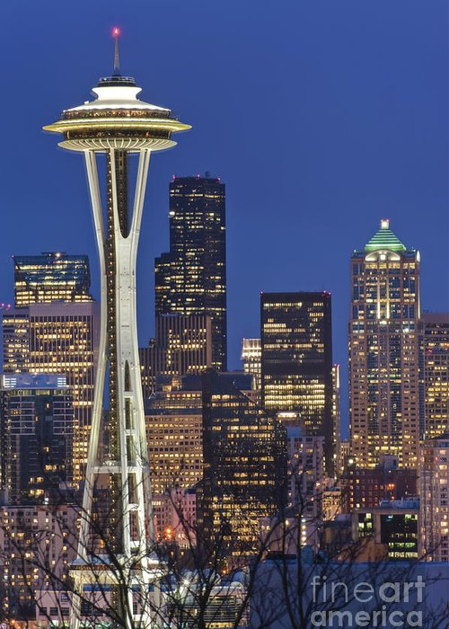 Architectural Detail Greeting Card featuring the photograph Space Needle And Downtown Seattle Skyline by Rob Tilley