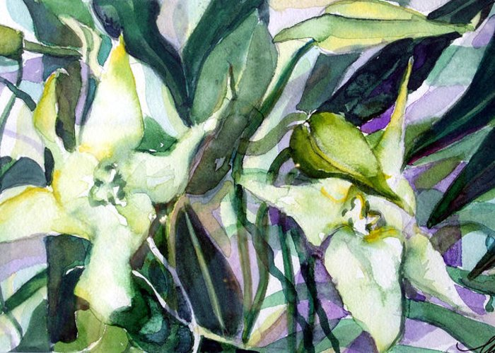 Orchids Greeting Card featuring the painting Spider Orchids by Mindy Newman
