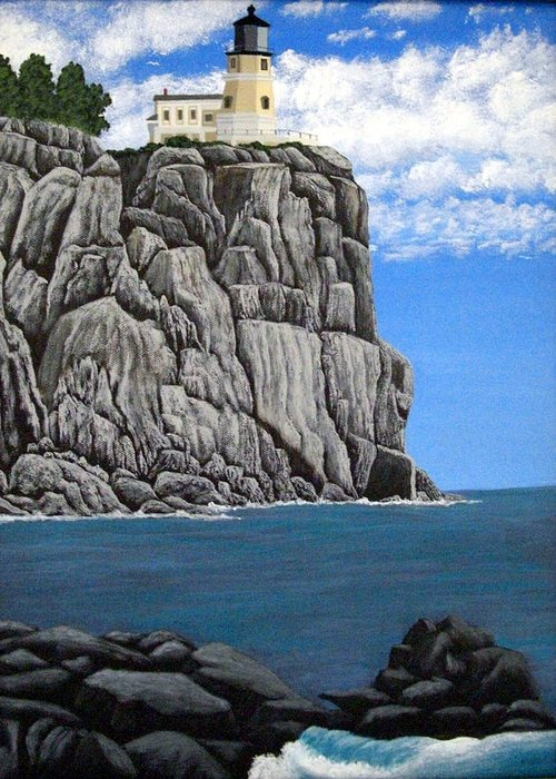 Lighthouse Paintings Greeting Card featuring the painting Split Rock Lighthouse by Frederic Kohli