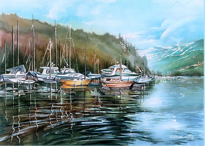Landscape Greeting Card featuring the painting Spring Deep Cove by Dumitru Barliga