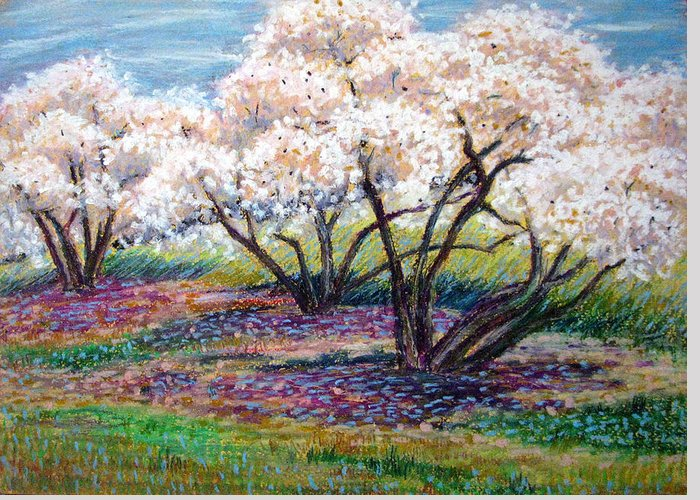 Oil Pastel Greeting Card featuring the painting Spring Has Sprung by Art Nomad Sandra Hansen