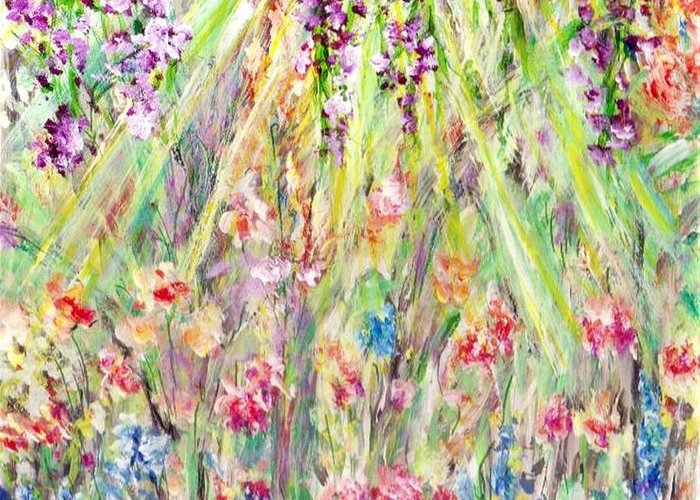 Mary Sedici Greeting Card featuring the painting Spring Time by Mary Sedici