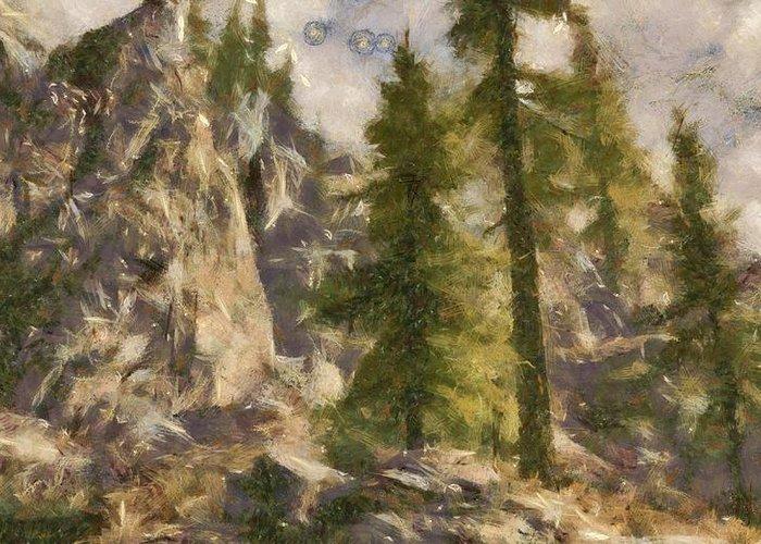 Spruce Greeting Card featuring the digital art Spruce by Marjan Mencin