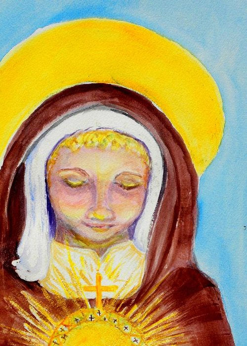 St. Clare Greeting Card featuring the painting St. Clare Of Assisi by Susan Clark
