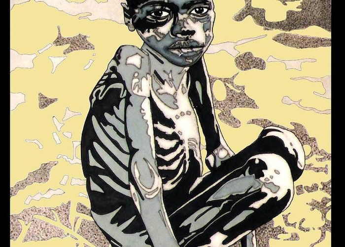 Hunger Greeting Card featuring the drawing Starving African Boy by Gabe Art Inc