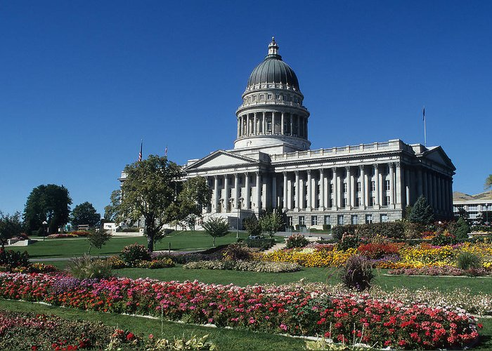 State House Greeting Card featuring the photograph State Capital In Salt Lake City by Carl Purcell