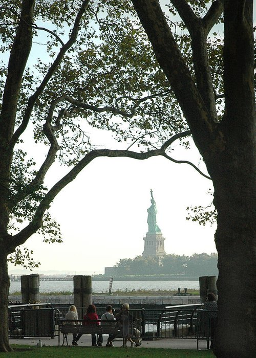 Statue Of Liberty Greeting Card featuring the photograph Statue Of Liberty From Ellis Island by Frank Mari