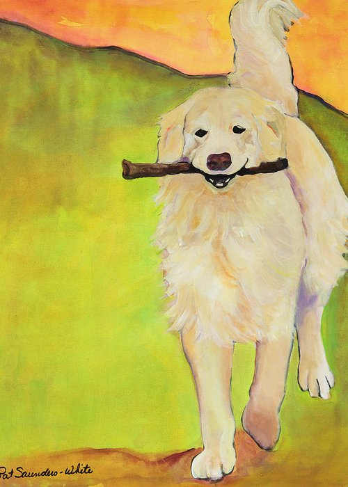 Dog Portraits Greeting Card featuring the painting Stick Together by Pat Saunders-White