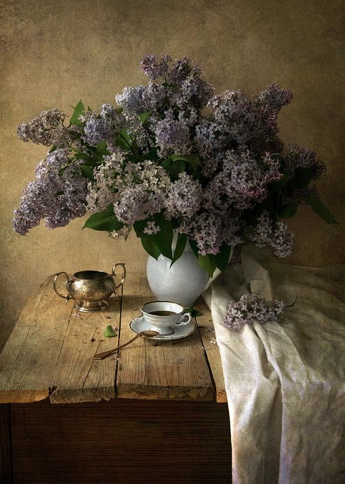 Fowers Greeting Card featuring the photograph Still Life With Bouquet Of Fresh Lilacs by Jaroslaw Blaminsky