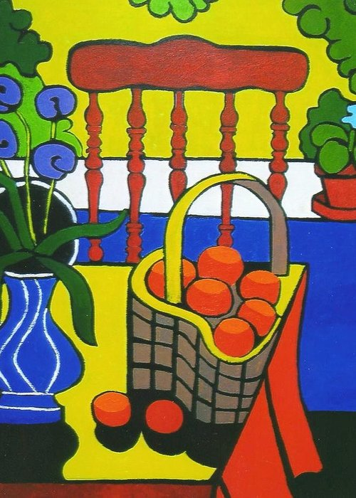 Still Life Greeting Card featuring the painting Still Life With Red Chair And Oranges by Nicholas Martori