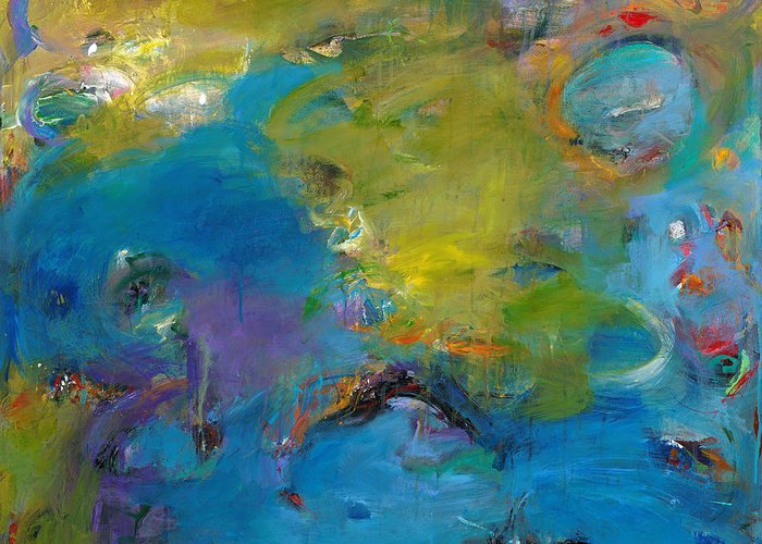 Abstract Expressionistic Greeting Card featuring the painting Still Waters Run Deep by Johnathan Harris