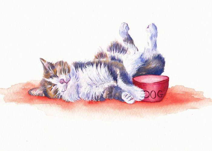Cat Greeting Card featuring the painting Stolen Lunch by Debra Hall
