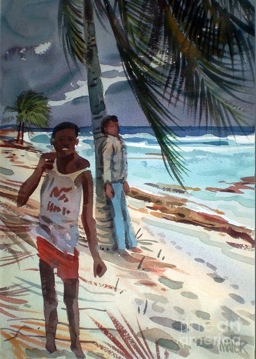 Carribean Greeting Card featuring the painting Storm Jitters by Donald Maier