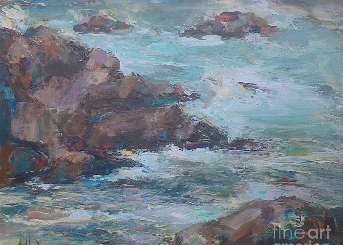Storm Greeting Card featuring the painting Stormy Sea Seascape by Angelina Nedin