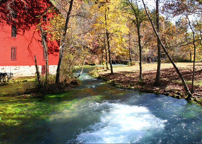 Barn Greeting Card featuring the photograph Stream Running by Jim Kuhlmann