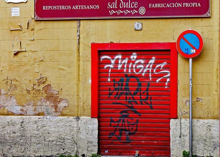 Street Art Greeting Card featuring the photograph Street Art In Palma Majorca Spain by Richard Rosenshein